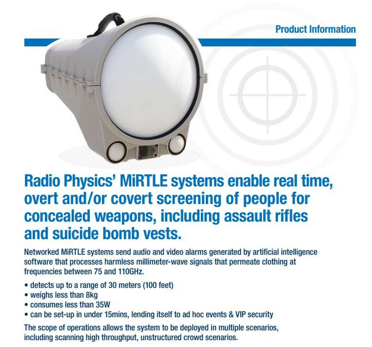 A portion of a Radio Physics Solutions brochure describing the MiRTLE system.
