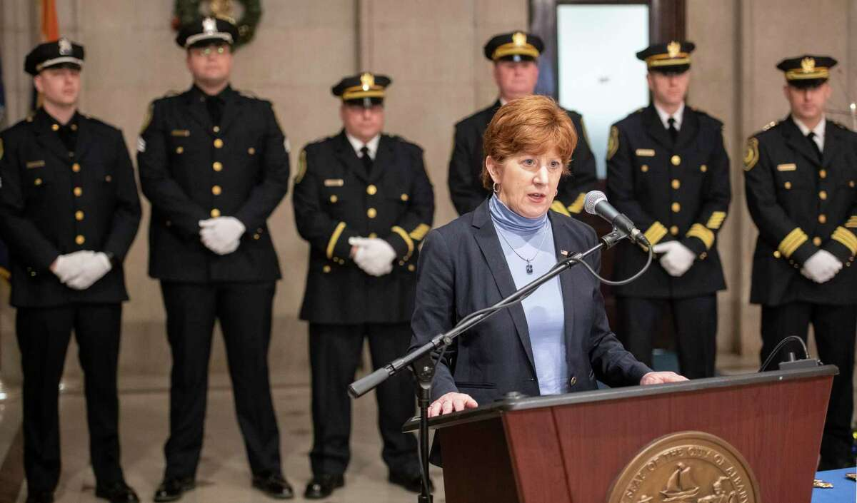 Albany Mayor Kathy Sheehan introduces the members of the Albany Police Department that are to be promoted during a ceremony held at City Hall Wednesday Dec. 18, 2018 in Albany N.Y. (Skip Dickstein/Times Union)