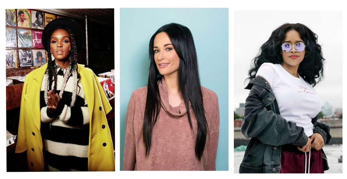 FILE - This 2018 combination of file photo shows, Janelle Monae, from left, Kacey Musgraves, and H.E.R. in New York. Female musicians who not only write their own lyrics - but produce their songs and albums too - are taking center stage at the 2019 Grammy Awards, a year after female voices were shut of the show?'s major categories. Kacey Musgraves, H.E.R. and Janelle Monae, performers who play instruments, write or co-write all of their songs and are also listed as producers on their projects, earned nominations for the coveted album of the year. (Photos by Taylor Jewell, Drew Gurian, Victoria Will/Invision/AP, File)
