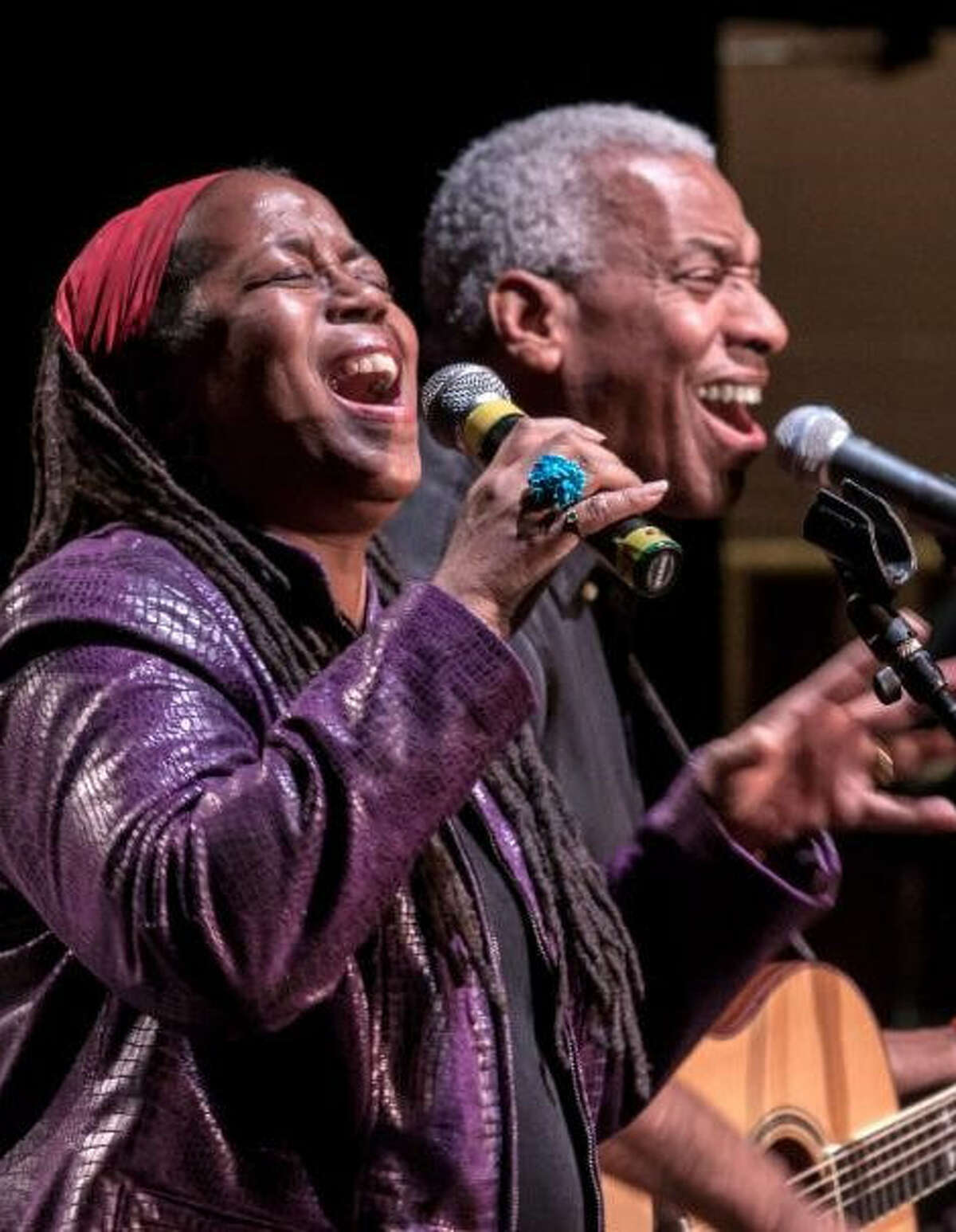 Reggie Harris, shown here is with his wife, Kim, is releasing an album this Saturday.