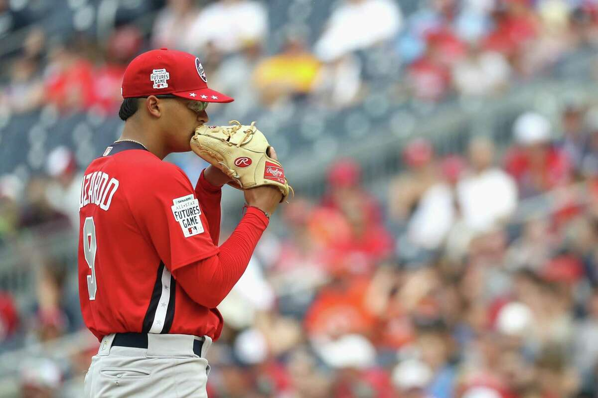 WASHINGTON, DC - JULY 15: Starting pitcher Jesus Luzardo #9 of the Oakland Athletics and the World Team works the first inning against the U.S. Team during the SiriusXM All-Star Futures Game at Nationals Park on July 15, 2018 in Washington, DC. (Photo by Rob Carr/Getty Images)