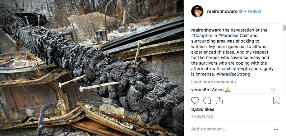 Filmmaker Ron Howard visited Paradise this week in preparation for a planned documentary about the firestorm that destroyed much of the small Northern California town. Photo: Instagram Screen Grab