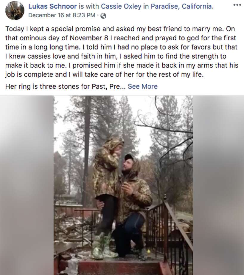 Lukas Schnoor proposed to his girlfriend at the remains of the their home that was destroyed by the Camp Fire. Photo: Lukas Schnoor/Facebook
