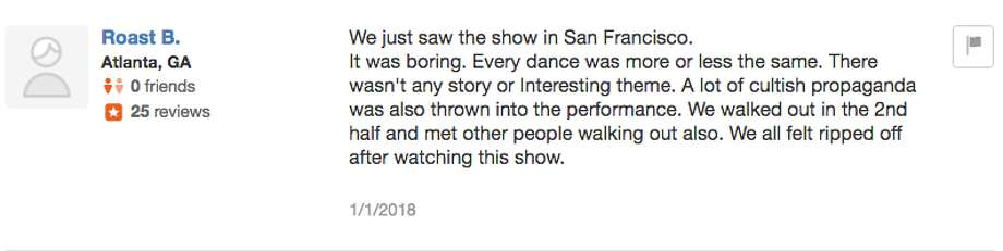 Love it or hate it, Shen Yun has provoked some strong opinions. Here's a selection of Yelp reviews of Shen Yun's Bay Ares shows. Photo: Screenshot / Yelp