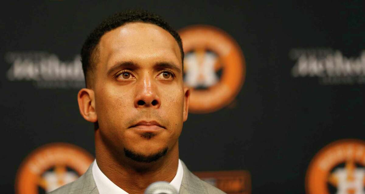 Michael Brantley as the Houston Astros announced the signing of Brantley at Minute Maid Park, Wednesday, Dec. 19, 2018, in Houston. Brantley signed a two-year contract with the outfielder.