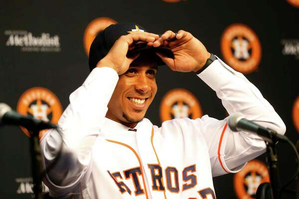 Michael Brantley laughs as he spoke to the media as the Houston Astros announced the signing of Brantley at Minute Maid Park, Wednesday, Dec. 19, 2018, in Houston. Brantley signed a two-year contract with the outfielder.