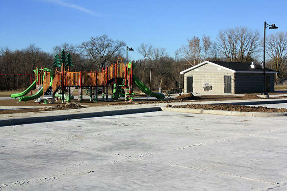 The new restrooms and playground at Schon Park are near a new parking area just off of Main St. across from St. Cecelia Catholic Church. Photo: Charles Bolinger | The Intelligencer
