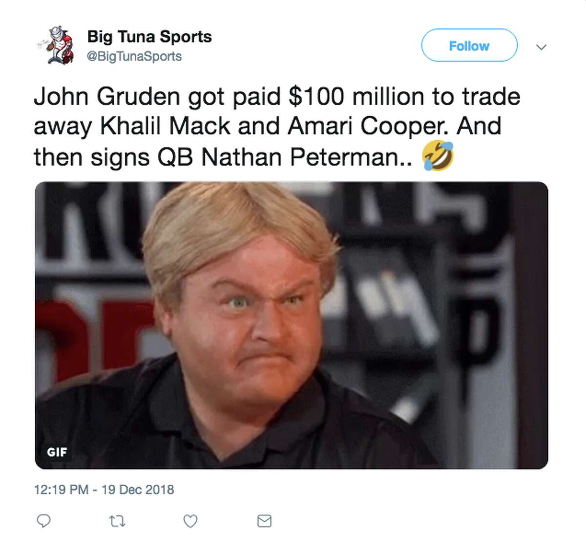 Fans react after the Raiders sign turnover-prone quarterback Nathan Peterman.