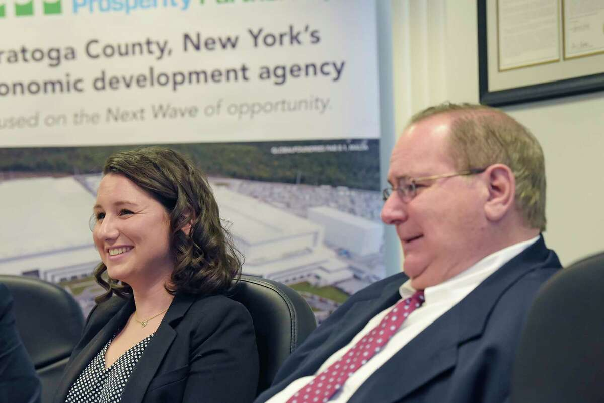 Jennifer Kelley, left, an economic development assistant with Saratoga County Prosperity Partnership, and her father, Jack Kelley, director of economic development at Prime Companies, talk about Jenney's new job with Saratoga County Prosperity Partnership during an interview on Wednesday, Dec. 19, 2018, in Malta, N.Y. (Paul Buckowski/Times Union)