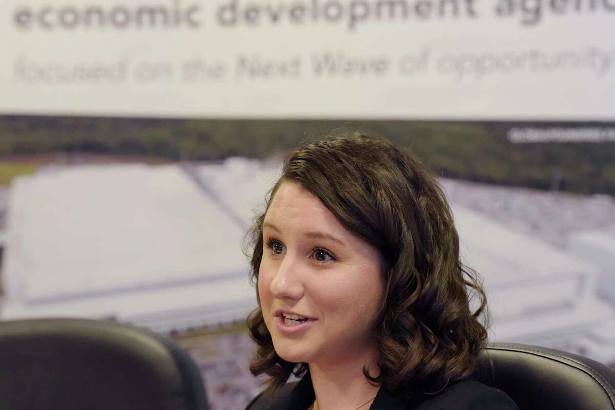 Jennifer Kelley, an economic development assistant with Saratoga County Prosperity Partnership, talks about her job during an interview on Wednesday, Dec. 19, 2018, in Malta, N.Y. Kelley is the daughter of Jack Kelley, director of economic development at Prime Companies. (Paul Buckowski/Times Union)