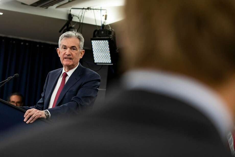 Federal Reserve Chairman Jerome Powell  at a news conference following the Federal Open Market Committee meeting in Washington, Dec. 19, 2018. The Fed announced a widely expected quarter-point increase in its benchmark interest rate on Wednesday, and signaled that it plans to continue raising rates next year. (Samuel Corum/The New York Times) Photo: SAMUEL CORUM, NYT