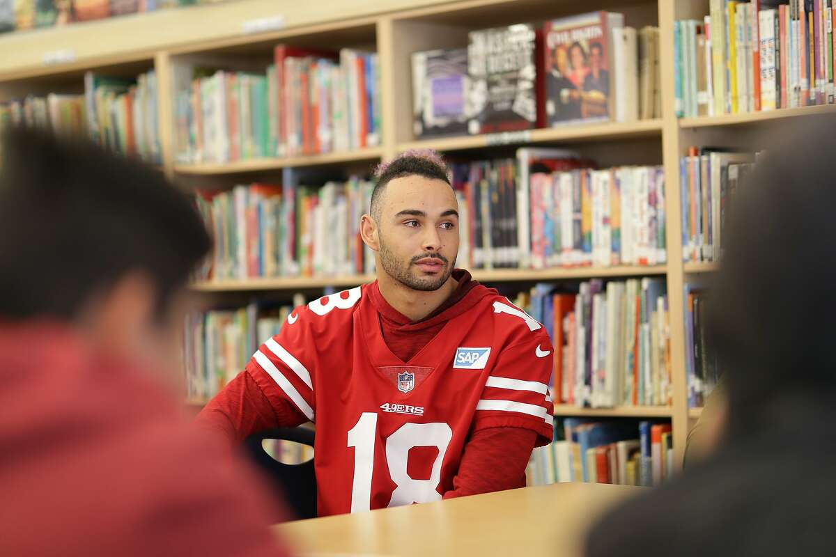 49ers Wide Receiver Dante Pettis and the 49ers partnered with Counseling and Support Services for Youth (CASSY) for a Mental Health Awareness event at Monroe Middle School in San Jose on Tuesday December 18, 2018. Pettis and his teammates partnered with 6th, 7th and 8th grade students for small groups discussions centered on managing stress and destigmatizing mental health.