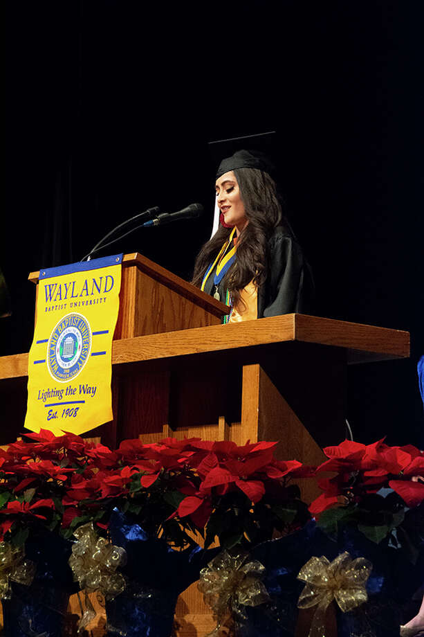 """Dania"" – Dania Martinez Diaz gave the student address at Saturday's commencement ceremony at Wayland Baptist University. Martinez graduated as highest ranking senior with a bachelor's degree in Spanish education. Photo: Wayland Baptist University"