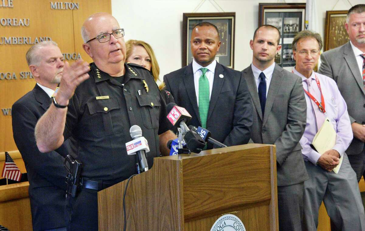 Saratoga County Sheriff Michael Zurlo, at podium, is joined by representatives of the county's school districts to annouce an agreement to establish a school resource officer in county schools during a news conference Thursday May 17, 2018 in Ballston Spa, NY. (John Carl D'Annibale/Times Union)