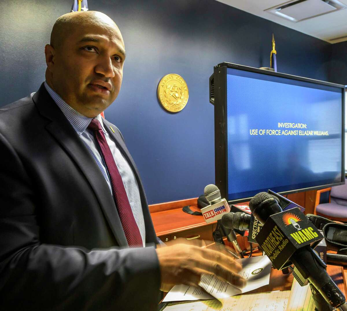 Albany County District Attorney David Soares releases some information about the Ellazar Williams shooting case with the media at his office Friday Dec.14, 2018 in Albany, N.Y. (Skip Dickstein/Times Union)