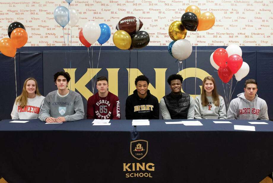 Several King School athletes signed National Letters of Intent on Wednesday. From left to right: Elizabeth Boeckman (Princeton, swimming), James Hilton (Columbia, rowing), Chris Della Jacono (Florida Southern, lacrosse), Kenny Dyson Jr. (Bryant, football), LeVaughn Lewis (Delaware, football), Jenna Macrae (Princeton rowing), Joe Skarad (Sacred Heart, baseball). Photo: Contributed Photo / Greenwich Time Contributed