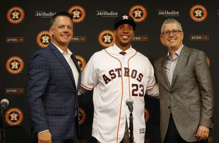 "Michael Brantley, center, gives Astros manager A.J. Hinch a ""professional hitter"" to plug into the lineup and fulfills ""one of our highest priority moves"" of the offseason for general manager Jeff Luhnow."