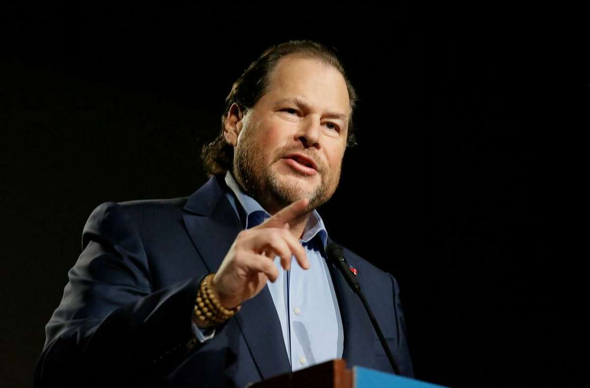 In this photo taken Tuesday, Oct. 30, 2018, Salesforce CEO Marc Benioff speaks at a SPUR luncheon in San Francisco. Benioff spoke about the responsibility of businesses and leaders to their local communities, including solving the homelessness crisis in San Francisco and beyond.