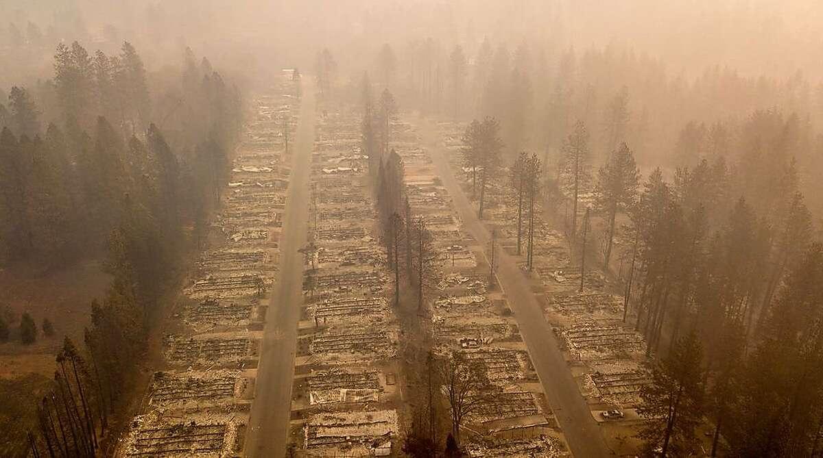 A burned neighborhood is seen in Paradise, California on November 15, 2018.