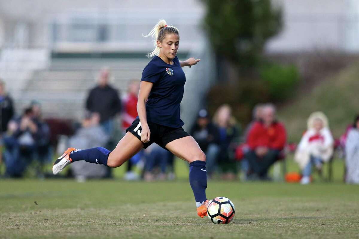 Courage's Abby Dahlkemper. The NWSL's North Carolina Courage played a preseason game against the University of North Carolina Tar Heels on April 8, 2017, at WakeMed Soccer Park Field 3 in Cary, NC. The Courage won the match 1-0.