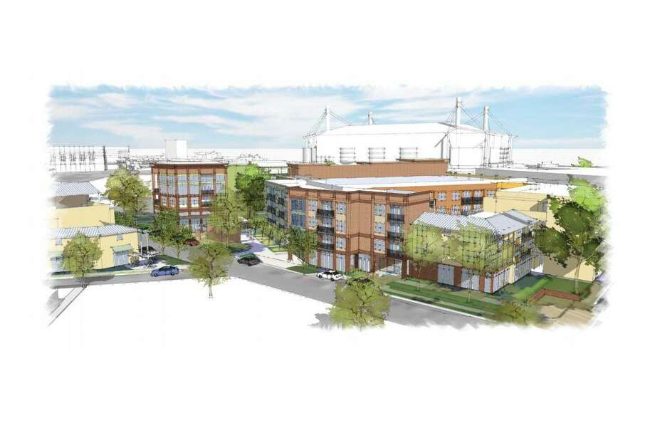 The 216-unit, $45.6 million multifamily complex is planned for the intersection of César E. Chávez Boulevard and Labor Street. It's intended as a gateway to the Lavaca neighborhood. Photo: Courtesy /Alamo Architects