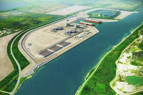 A rendering of Port Arthur LNG proposed by San Diego-based Sempra Energy, which received another key approval for the projec this week.