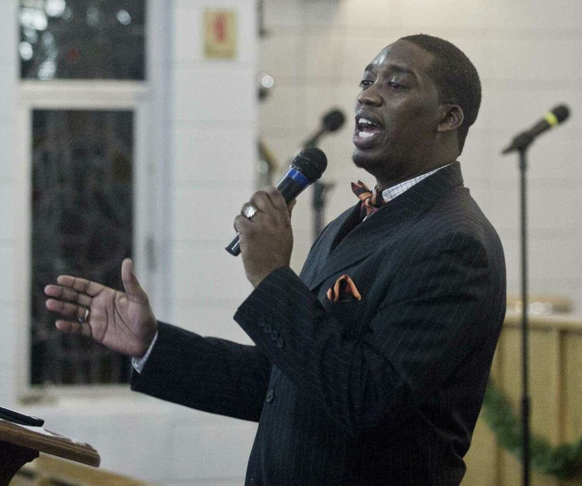 The Rev. Dr. Robert Jackson, pastor of Bethel AME Church, addresses the gathering at the sixth annual Stamford Vigil of Hope to End Gun Violence.