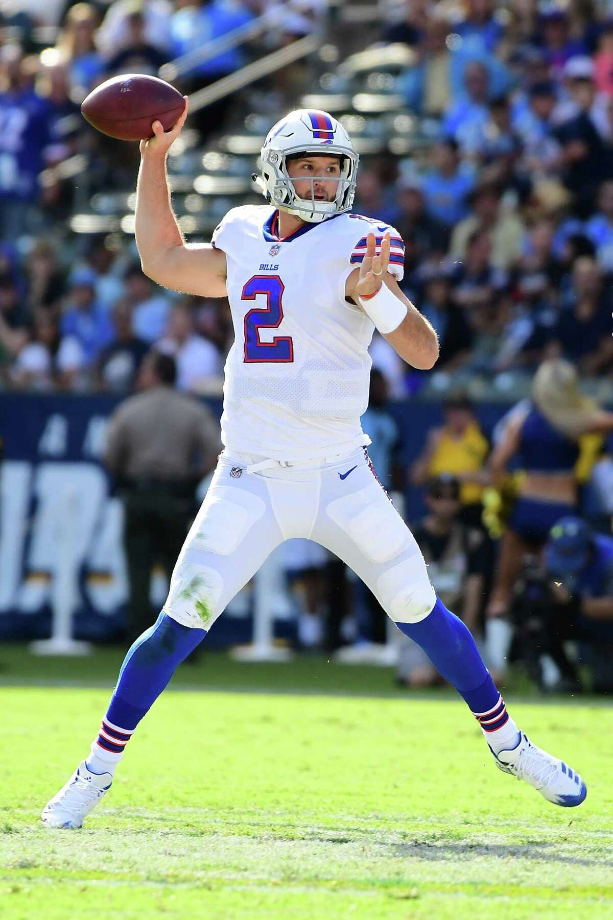 CARSON, CA - NOVEMBER 19: Nathan Peterman #2 of the Buffalo Bills throws a pass during the first quarter of the game against the Los Angeles Chargers at the StubHub Center on November 19, 2017 in Carson, California. (Photo by Harry How/Getty Images) ORG XMIT: 700070751
