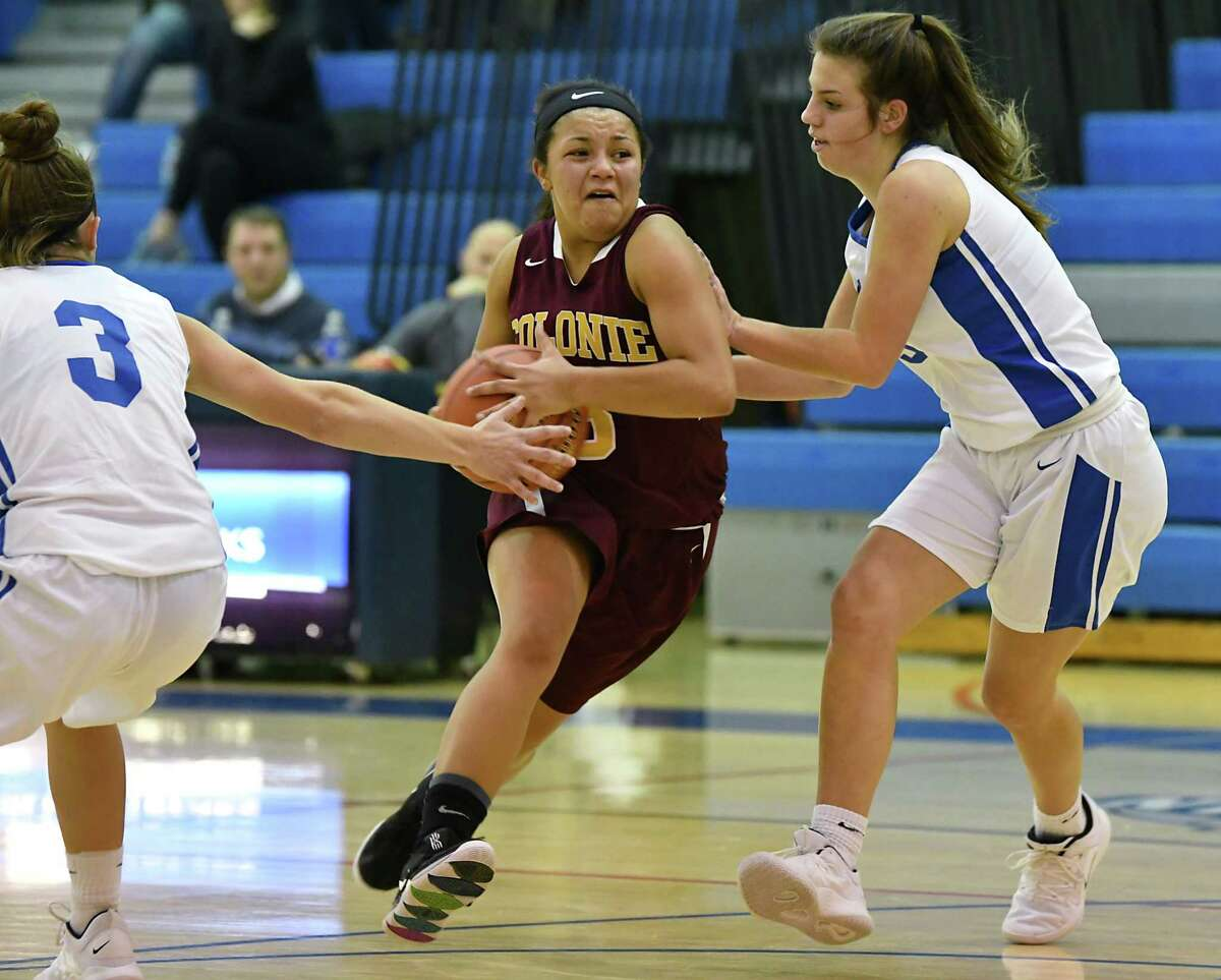 Colonie's Aliyah Wright drives to the basket during a basketball game against Saratoga on Tuesday, Dec. 4, 2018 in Saratoga Springs, N.Y. (Lori Van Buren/Times Union)
