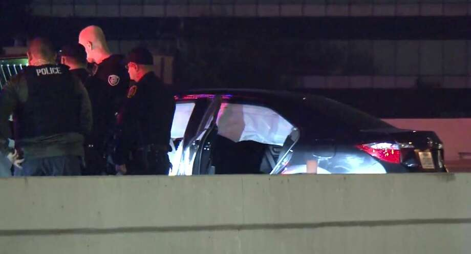 A chase ended in a crash on Bissonnet and Beltway 8, on Wednesday, Dec. 19, 2018. Photo: Metro Video