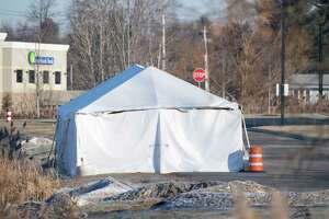 The tent containing the wrecked limo from the accident in Schoharie County remains in place behind the Troop G headquarters Thursday Dec. 20, 2018 in Latham, N.Y.  (Skip Dickstein/Times Union)