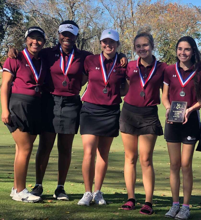 Pearland girls' golf team members (left to right) Alexa Vela, Kendall Jackson Addie Poulin, Juliana Hudman and Kaylah Angel finished second at the Battleground Classic tournament in Deer Park.  The team set one-day (322) and two-day team score records.(647). Vela set the school tournament record score with a 75. Photo: Submitted Photo