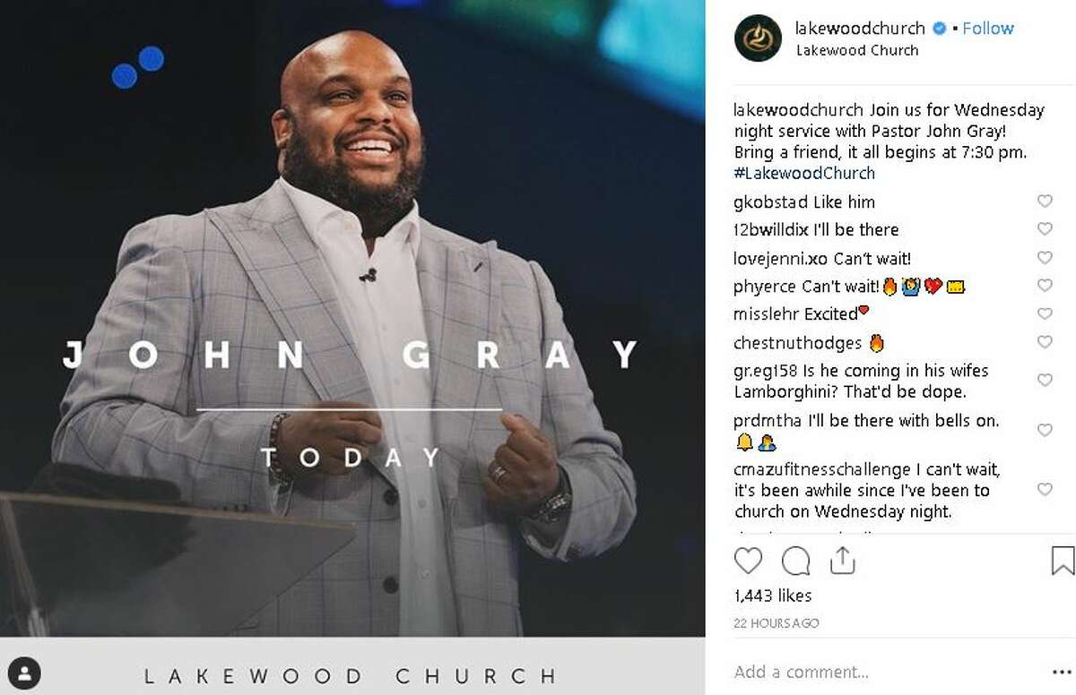 Pastor John Gray took to the stage at Houston's Lakewood Church on Wednesday.