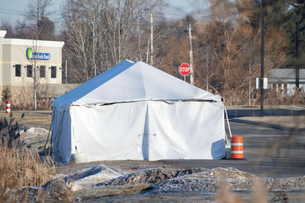 The tent State Police used to house the wrecked limousine during their investigation of the crash that killed 20 people in Schoharie County remains in place behind the Troop G headquarters Thursday Dec. 20, 2018 in Latham, N.Y. (Skip Dickstein/Times Union)