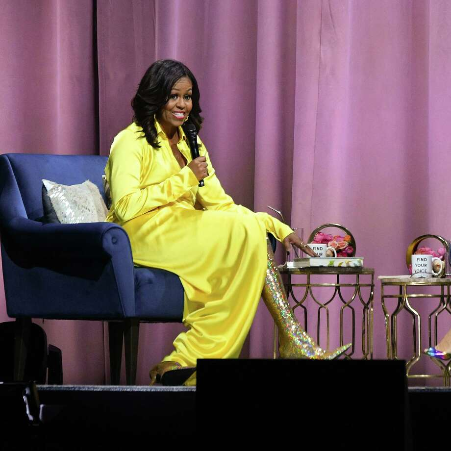 """NEW YORK, NEW YORK - DECEMBER 19:  Former first lady Michelle Obama discusses her book """"Becoming"""" at Barclays Center on December 19, 2018 in New York City. Photo: Dia Dipasupil, Getty Images / 2018 Getty Images"""