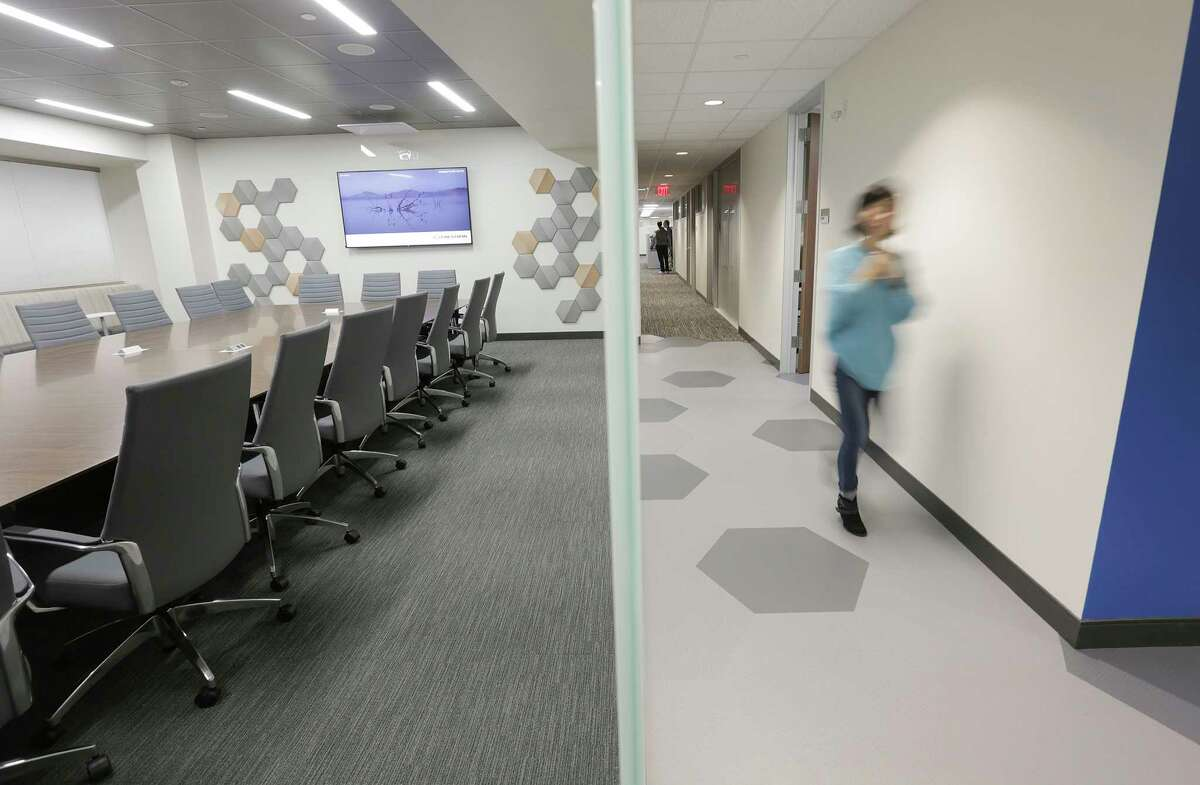 The new UTHealth School of Biomedical Informatics building puts the school into one location, with a variety of collaboration and meeting rooms.