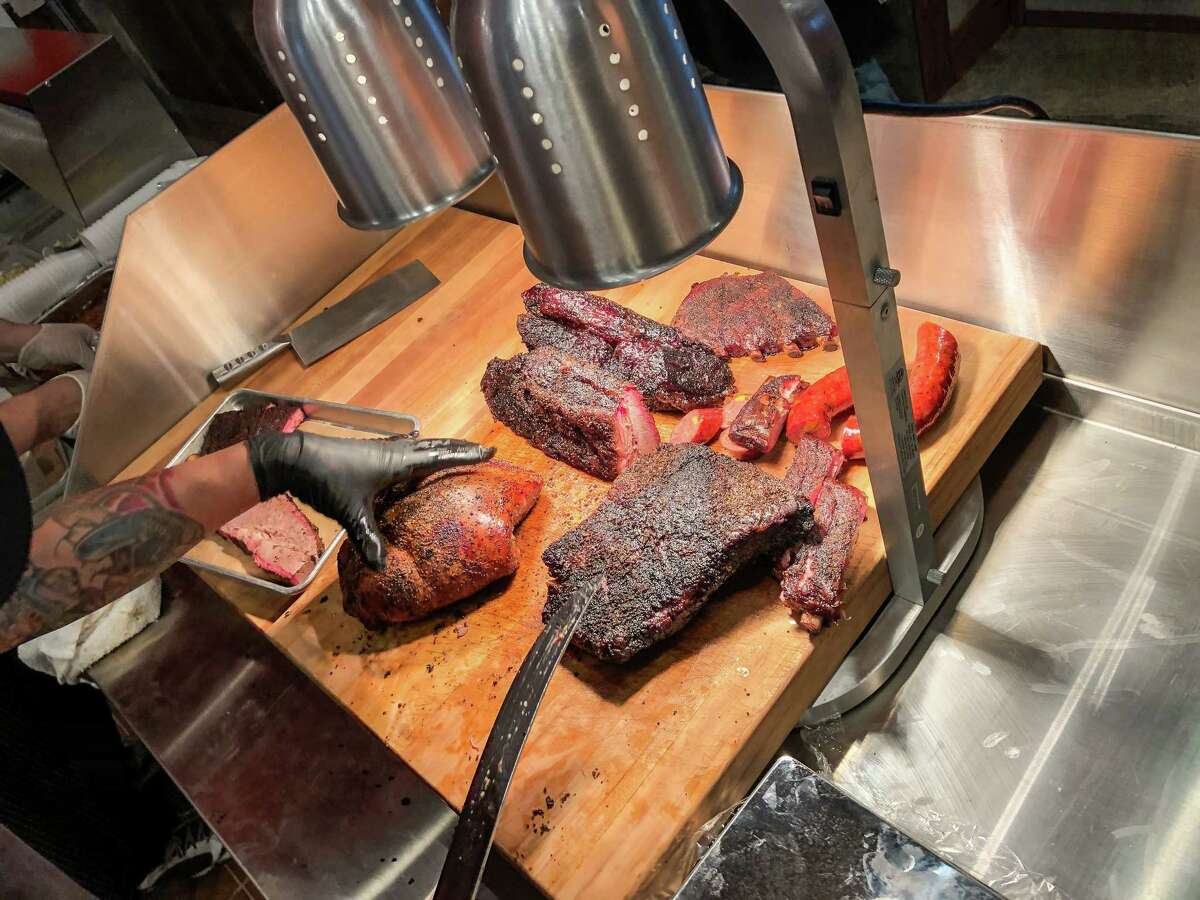 The cutting board at Blood Bros. BBQ in Bellaire