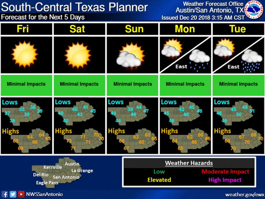 The National Weather Service is predicting a warm and possibly wet Christmas Day in San Antonio this year. Photo: Courtesy Of National Weather Service