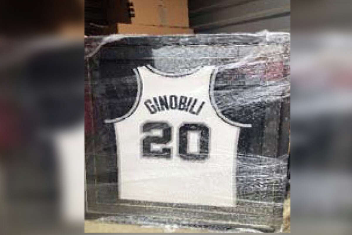 Framed Spurs autographed jersey of Ginobili