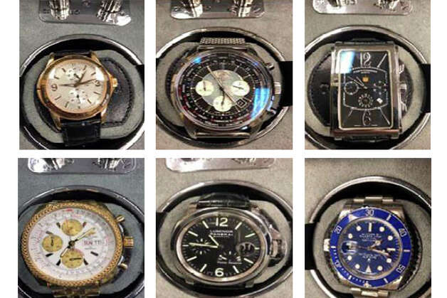 Clockwise from top left: Patek Philippe Geneve watch (rose gold with black leather strap), Breitling watch (black dial), Men's Cuervo y Sobrinos Habana watch (black dial), Men's Breitling watch (white dial), Men's Luminor Panerai watch-automatic, Men's Rolex watch- Submariner (blue dial and face). Photo: Court Documents