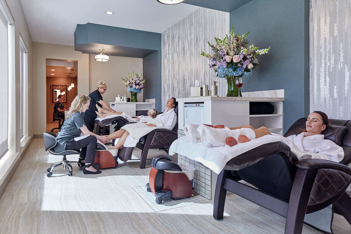 The nail salon with anti-gravity chairs at the Bergamos Retreat Spa in Friendswood.