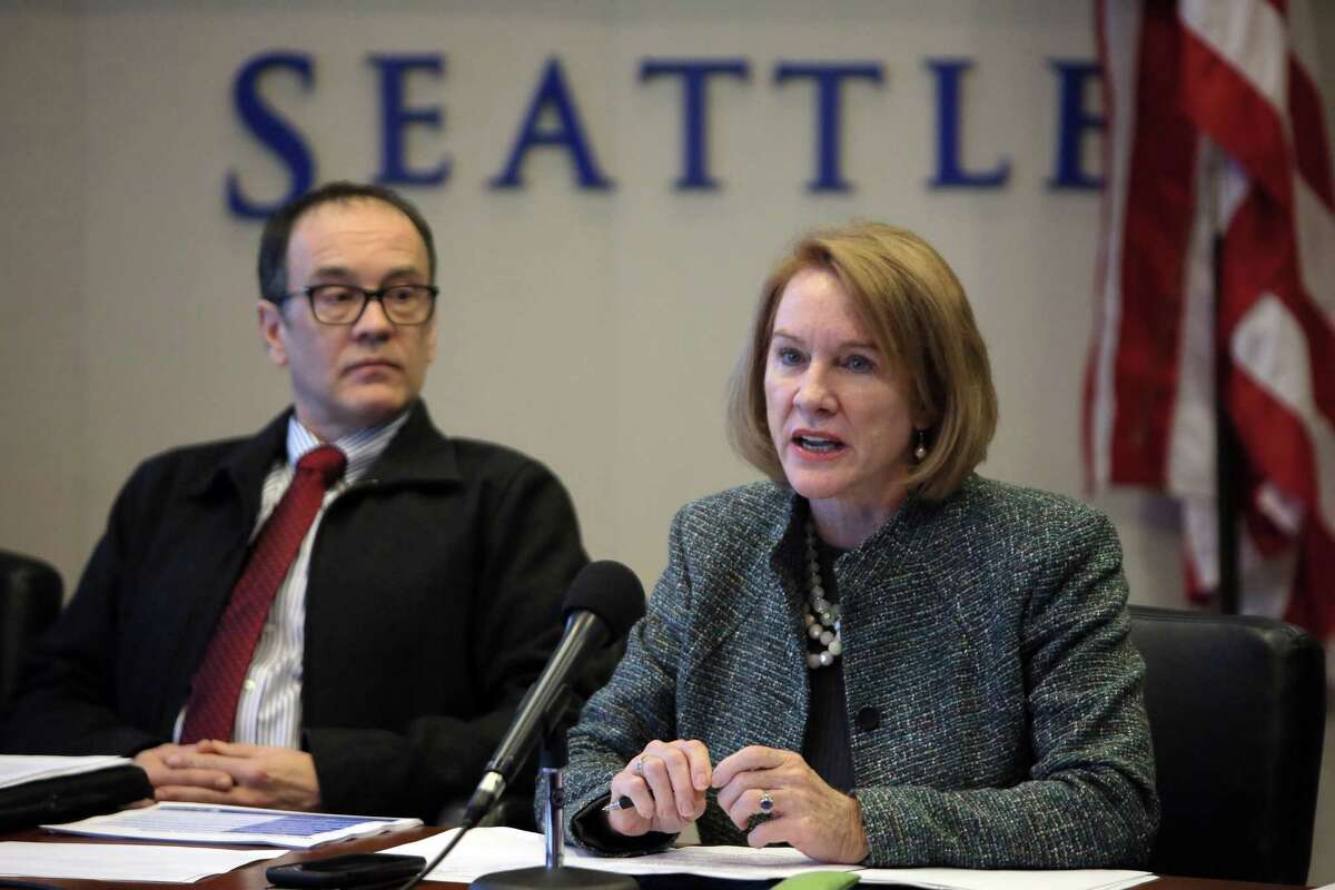 City officials, including Mayor Jenny Durkan, hold a media briefing on the upcoming closure of the Alaskan Way Viaduct, which will begin January 11, 2019. The new SR-99 tunnel is slated to open in February. Photographed Dec. 20, 2018.