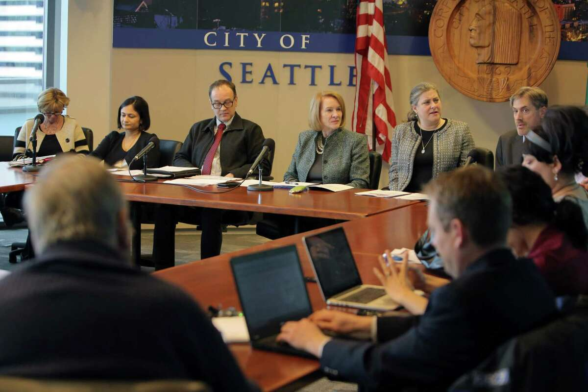 City and SDOT officials, including Mayor Jenny Durkan, hold a media briefing on the upcoming closure of the Alaskan Way Viaduct, which will begin January 11, 2019. The new SR-99 tunnel is slated to open in February. Photographed Dec. 20, 2018.