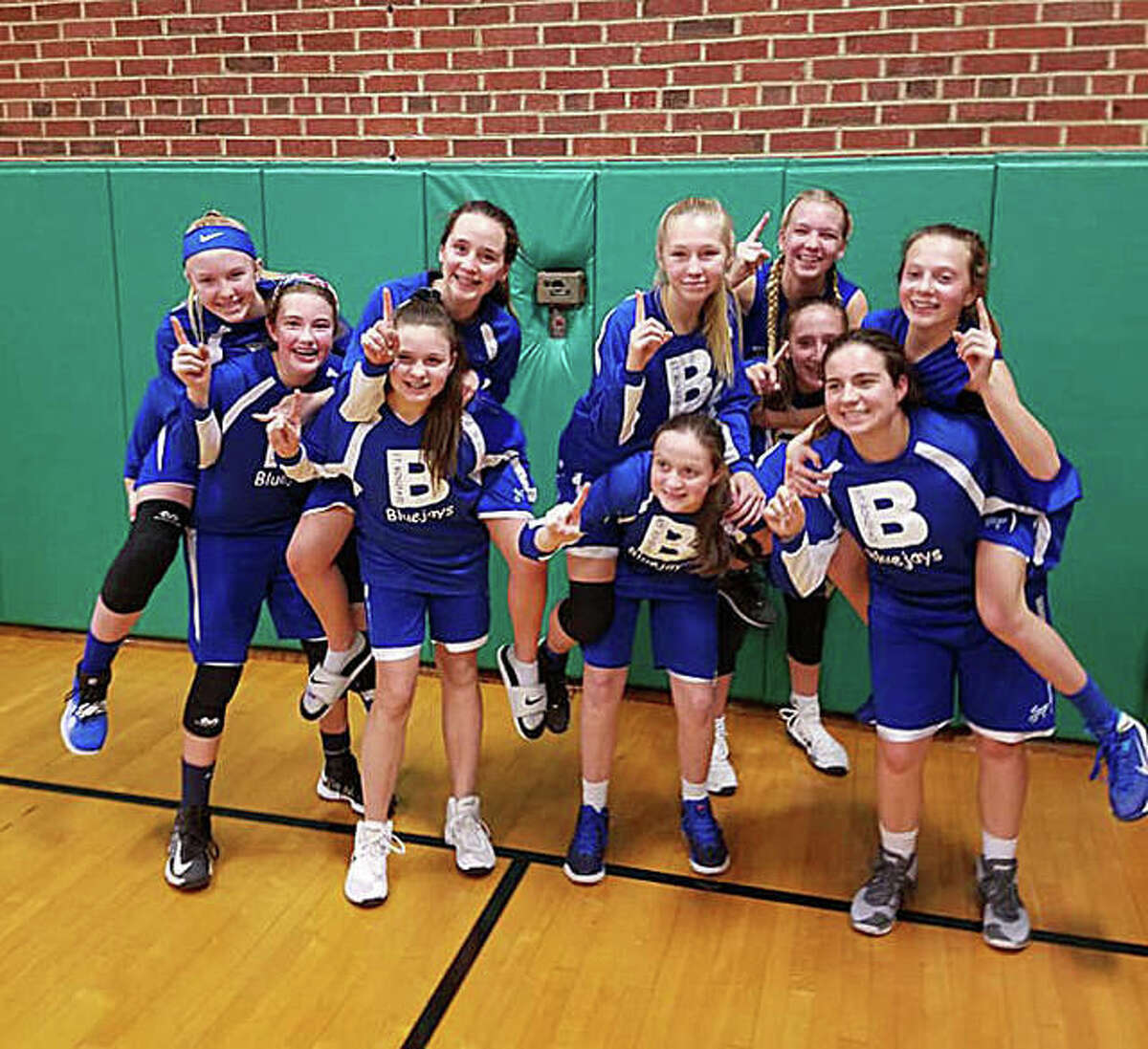 The St. Boniface Bluejays eighth-grade girls' basketball team recently finished an undefeated season in the Southern Springfield Catholic Athletic Conference. Players include, in no particular order, Emily Travnicek, Caroline Marcus, Sarah Brase, Ellie Antonini, Katie Gilbertson, Sami Oller, Gwen Anderson, Ella Heddinghaus, Brianna Paul, Claire Stanhaus. The Bluejays are coached by Kyle Anderson, Brian Stanhaus and Mikki Travnicek.