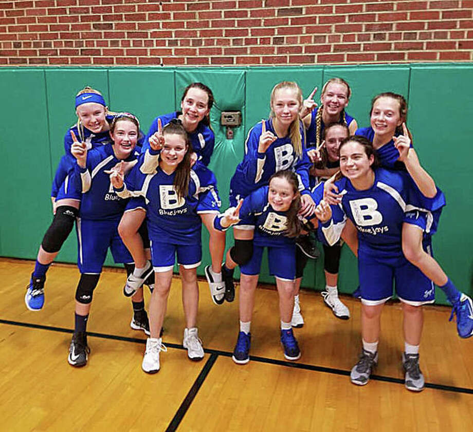 The St. Boniface Bluejays eighth-grade girls' basketball team recently finished an undefeated season in the Southern Springfield Catholic Athletic Conference. Players include, in no particular order, Emily Travnicek, Caroline Marcus, Sarah Brase, Ellie Antonini, Katie Gilbertson, Sami Oller, Gwen Anderson, Ella Heddinghaus, Brianna Paul, Claire Stanhaus. The Bluejays are coached by Kyle Anderson, Brian Stanhaus and Mikki Travnicek. Photo: For The Intelligencer