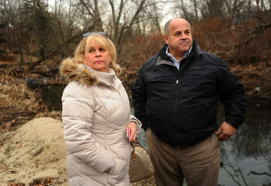 Susan Zaleta, of Fairfield, and Fairfield Public Works Director Joe Michelangelo survey the Rooster River where debris is being removed to aid water flow in Mountain Grove Cemetary in Bridgeport, Conn. on Thursday, December 20, 2018. Zaleta's Lewis Drive home was flooded by the river during torrential rains on September 25. Photo: Brian A. Pounds / Hearst Connecticut Media / Connecticut Post