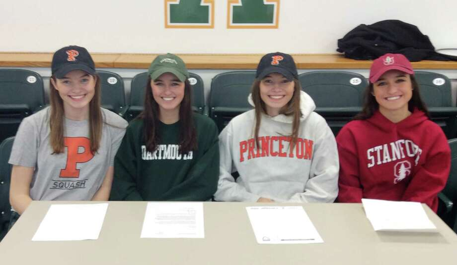 Greenwich Academy held a ceremony for its squash players who will compete at Division I colleges next year. The players include, from left to right: India Stephenson (Princeton University), Claire Aube (Dartmouth College), Lucy Stephenson (Princeton University) and Haley Aube (Stanford University). Photo: Contributed Photo / Greenwich Time Contributed Photo