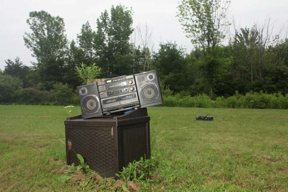 Radio boombox during Audio Buffet (for Pauline), July 22, 2017. Photographed by Thatcher Keats.