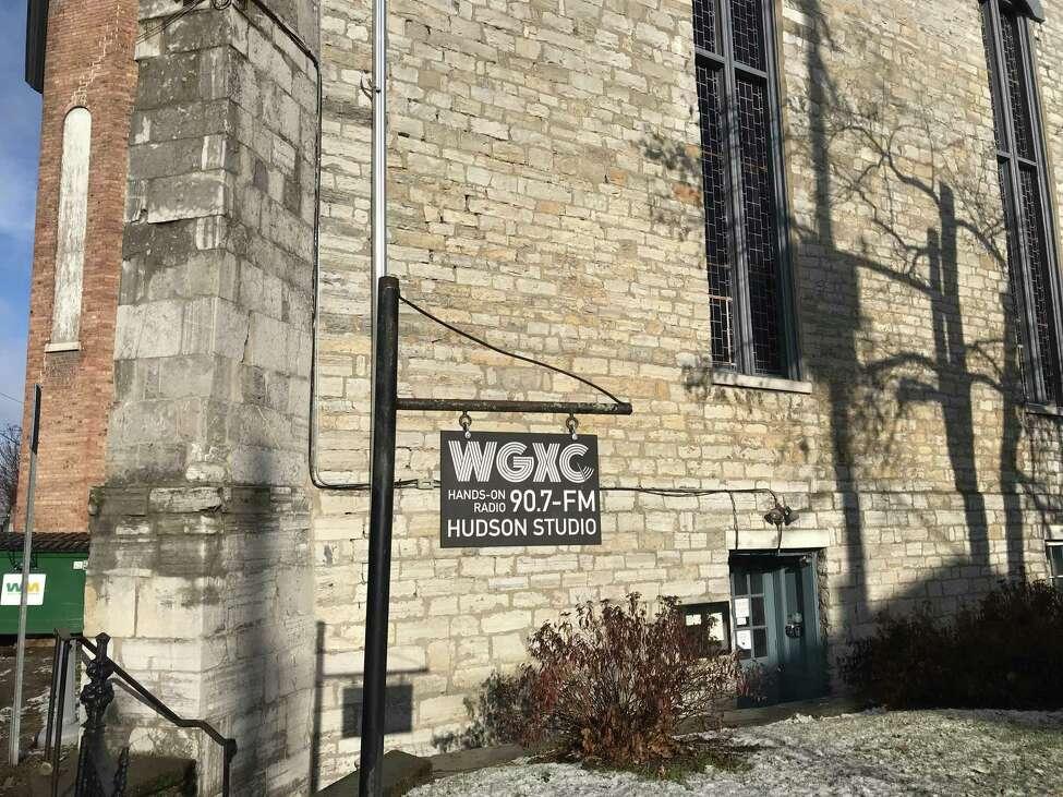 WGXC Hudson Studio Entrance (369 Warren St.), December 17, 2018. Sign designed by Neil Allen.
