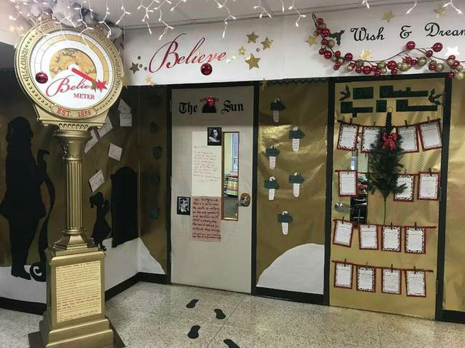 """Macy's donated the """"Believe"""" meter set up outside the classroom of Jill Davis, Amy Donohoo and Katie Lingle at Lewis & Clark Elementary School in Wood River. Photo: Riley Newton 